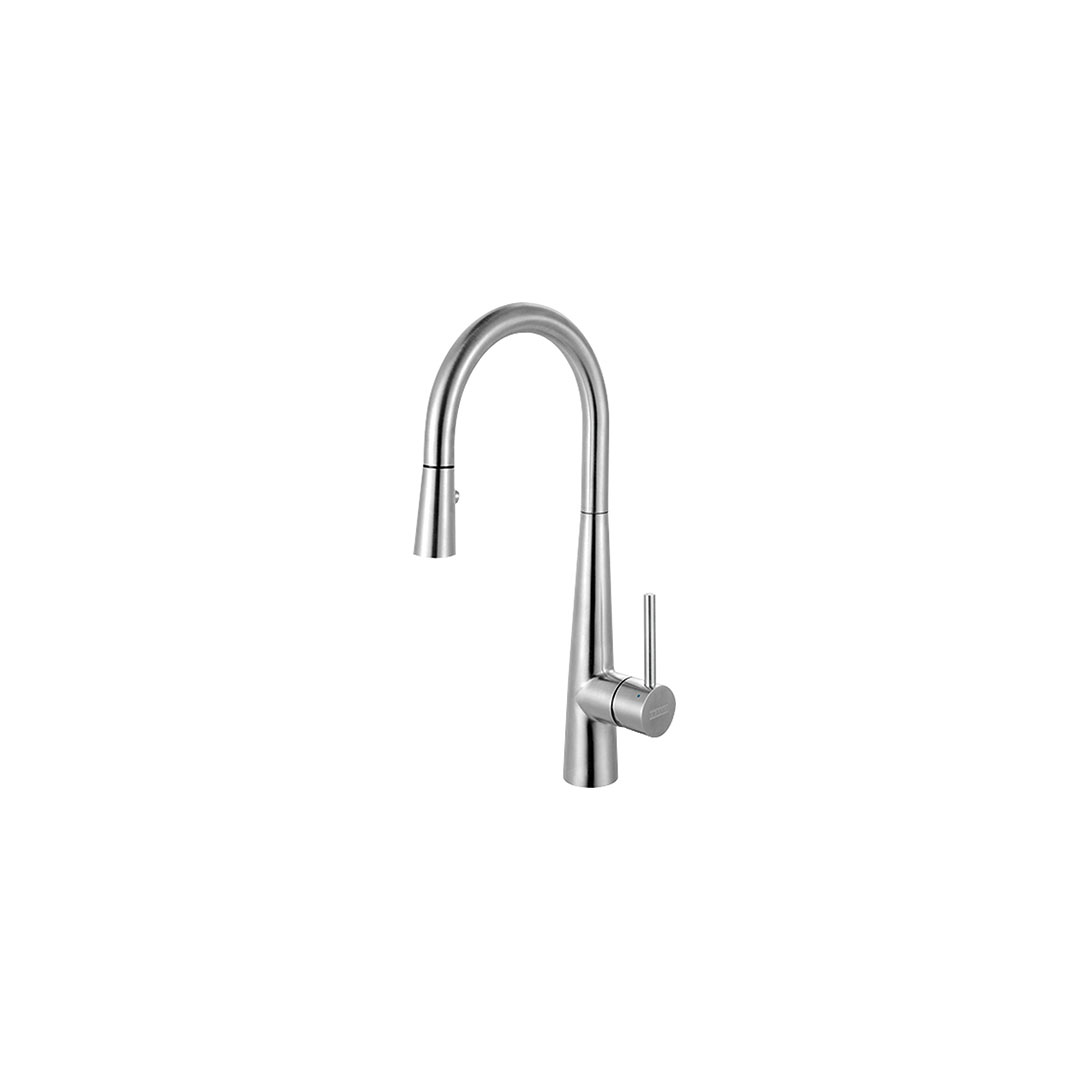 Franke Ffp3450 Steel Series Pull Down Kitchen Faucet With Side Lever Stainless Steel