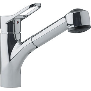 Franke FFPS280 Mambo Series Single Handle Pull-Out Kitchen Faucet, Satin Nickel