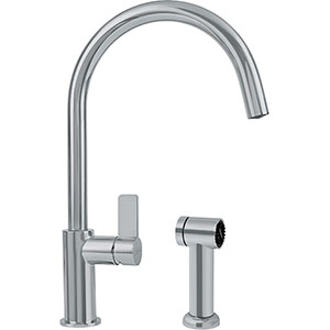 Franke FFS3180 Ambient Series Arc Spout With Side Lever And Side Spray, Satin Nickel