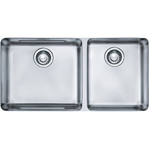 "Franke KBX12034 Kubus 34-5/8"" X 17-1/3"" Double Bowl Undermount Sink, Stainless Steel"