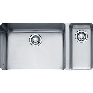 "Franke KBX160 Kubus 13"" Double Bowl Undermount Sink, Small Bowl On Right, Stainless Steel"