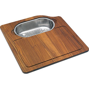 FRANKE OC-45SP ORCA IROKO SOLID WOOD CUTTING BOARD WITH COLANDER