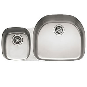 "Franke PCX12009LH Prestige 35 5/8"" Double Bowl Undermount Sink, 9"" Deep, Left Hand Small Bowl, Stainless Steel"