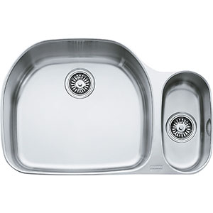 "Franke PCX16009 Prestige 31-1/8"" Double Bowl Undermount Sink, 9"" Deep, Stainless Steel"