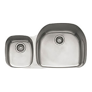 "Franke PRX120LH Prestige 35-5/8"" Double Bowl Undermount Sink With Ledge, Left Hand Small Bowl, Stainless Steel"