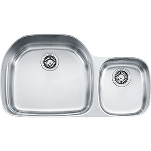 "Franke PRX120 Prestige 35 5/8"" Double Bowl Undermount Sink With Ledge, Stainless Steel"